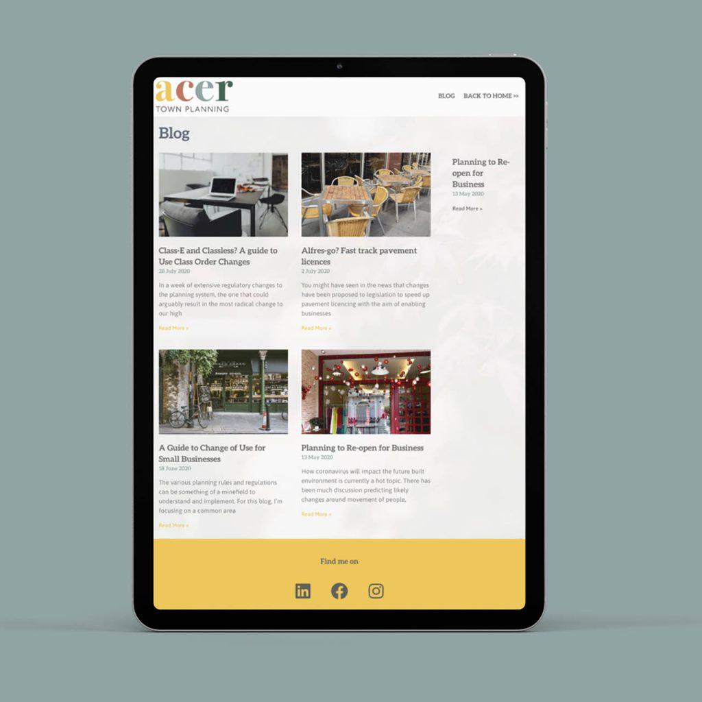 Acer web design on ipad