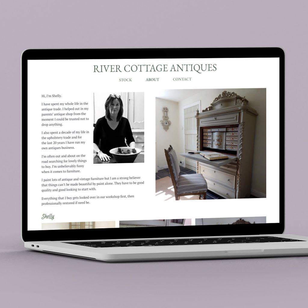 River Cottage Antiques website on a Macbook