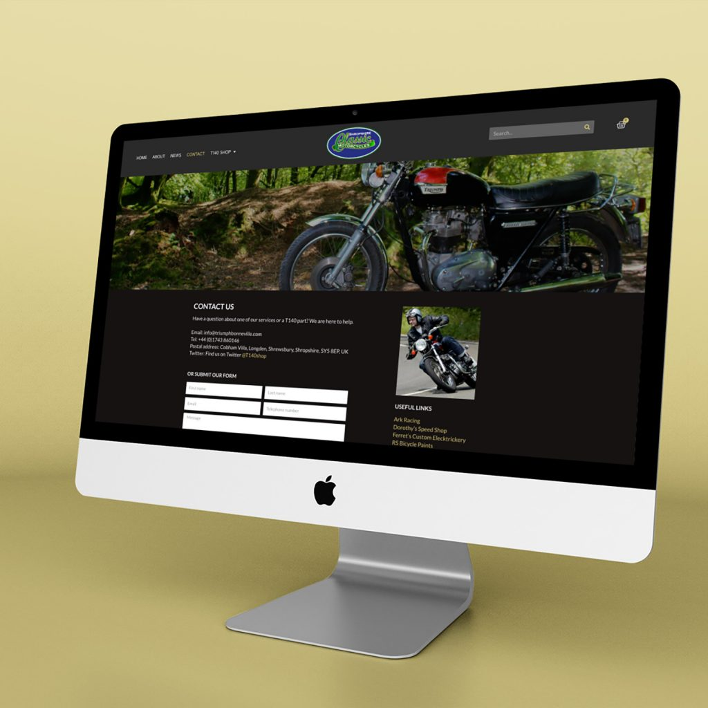 Example of Shropshire Classic Motorcycles website on iMac