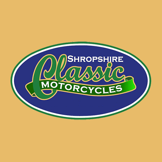 A shortcut tile that links to the portfolio page for the Shropshire Classic Motorcycles website.