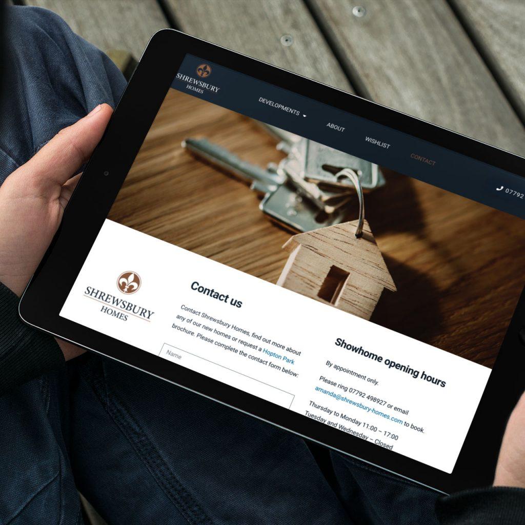 Shrewsbury Homes Website on iPad