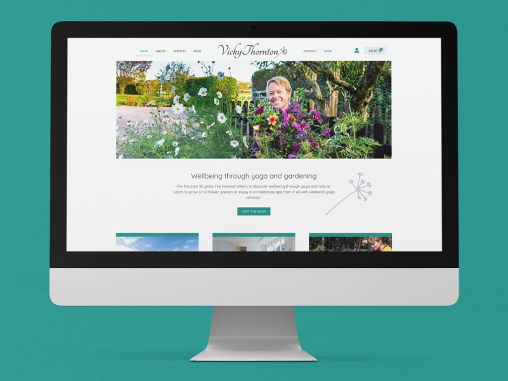 Example of Vicky Thornton website on a iMac