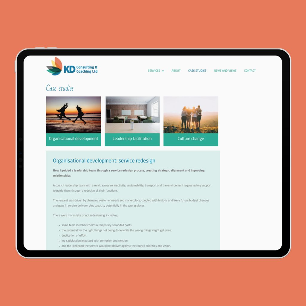 Example of KD web design on iPad Pro