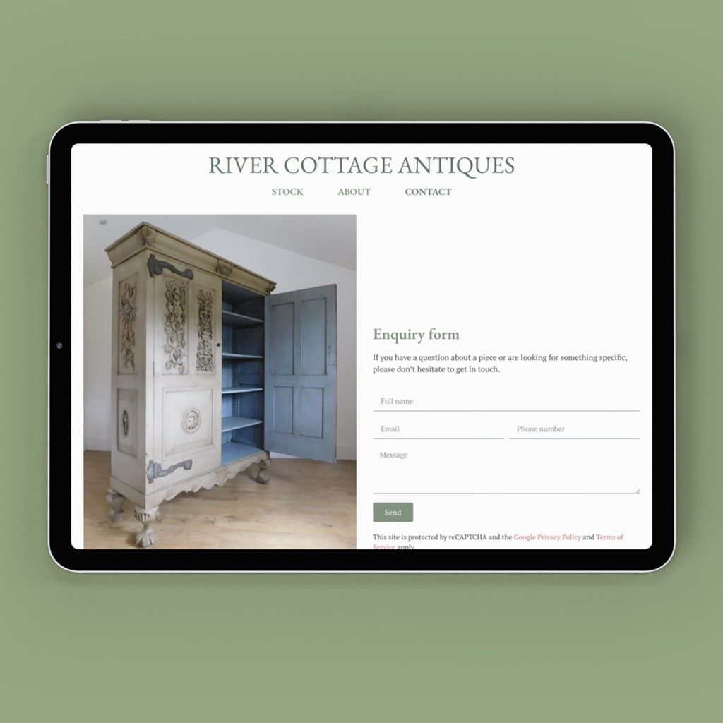 Example of River Cottage website on an iPad