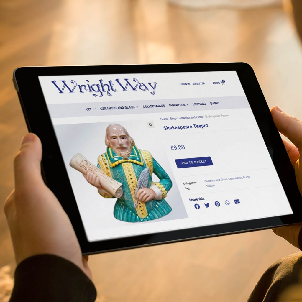 Example of Wrightway Lincoln Antiques web design on an iPad