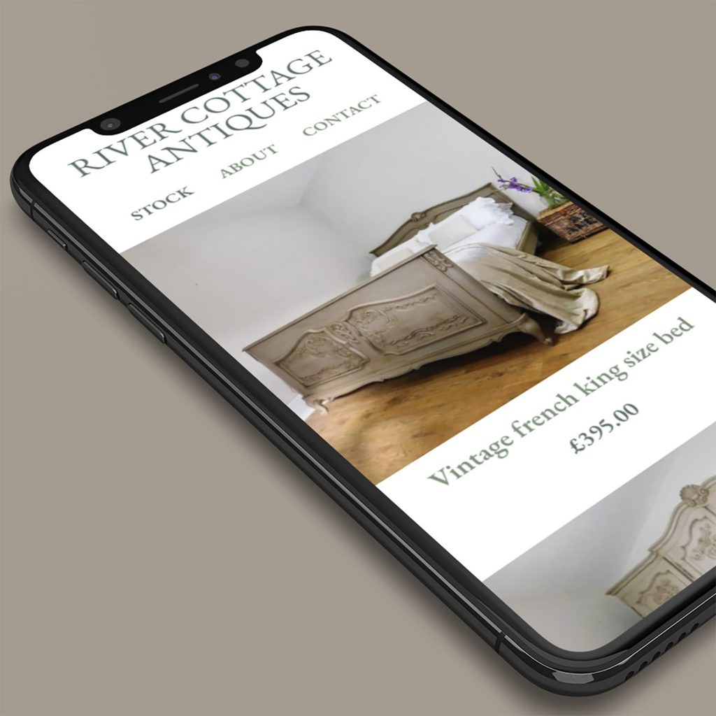 Example of River Cottage Antiques website on an iPhone.