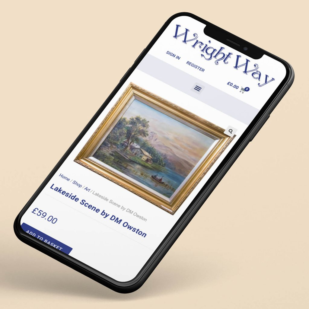 Example of Wrightway Antiques Lincoln web design on iPhone